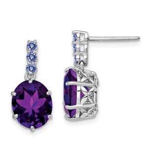Jewelry - 925 Sterling Silver Tanzanite Amethyst Earrings